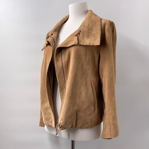 Talbots Suede Leather Tan Jacket Small, Like New!
